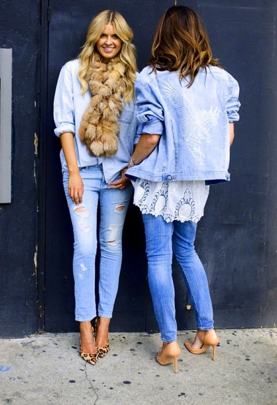 Denim on denim is my go-to combo when I can't think of anything else to wear.  I love how the (hopefully faux) fur scarf makes this look lush