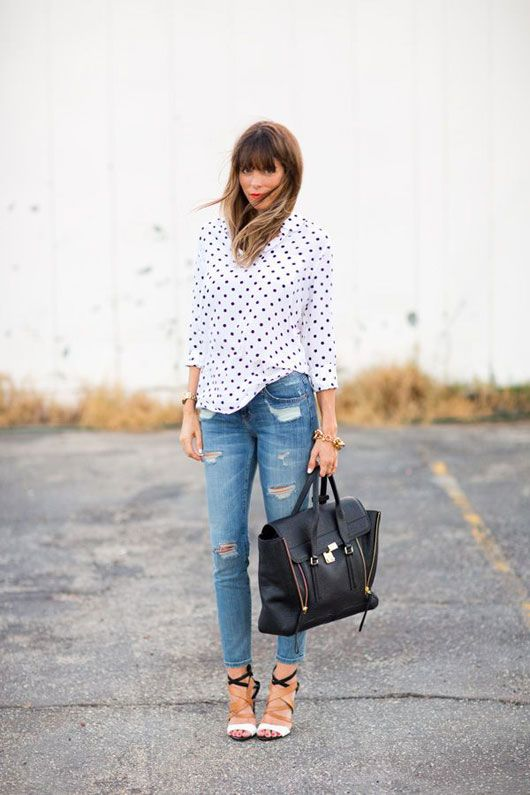 add a feminine blouse, like this polka dot blouse to soften your look